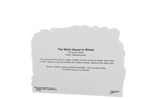 """Back Description of The Witch House in Winter, Salem, Massachusetts. Handcrafted in the USA 3/4"""" thick wood by Cat's Meow Village."""