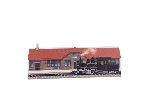 """Wooden replica of Belton Depot, West Glacier Train Depot, Glacier National Park, Montana. Handcrafted in 3/4"""" thick wood by The Cat's Meow Village in the USA."""