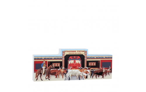 Wooden replica of Stockyards Station, Fort Worth, Texas part of the Stockyards National Historic District. Handcrafted by The Cat's Meow Village in the USA.