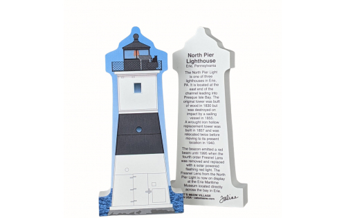 """Replica of North Pier Lighthouse, Erie, Pennsylvania handcrafted in 3/4"""" thick wood by The Cat's Meow Village in the USA."""