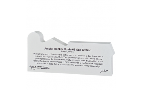 """Back of the wooden replica of the Ambler-Becker Route 66 Gas Station, Dwight, Illinois. Handcrafted in 3/4"""" thick wood by The Cat's Meow Village in the USA."""