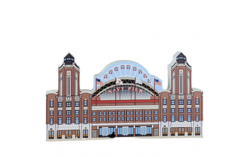 """Wooden replica of the Navy Pier in Chicago, Illinois. Handcrafted in 3/4"""" thick wood by The Cat's Meow Village in the USA."""