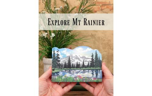 Wooden scene of Mt Rainier brings back memories of your time on the mountain. Handcrafted in the US by The Cat's Meow Village
