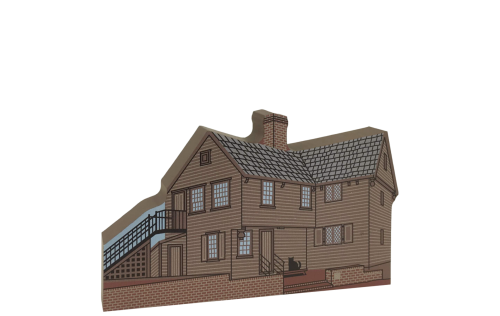 """Wooden replica of Paul Revere House in Boston, Mass, handcrafted of 3/4"""" thick wood by The Cat's Meow Village. Add it to your home decor to remember your visit to this historic muesum."""