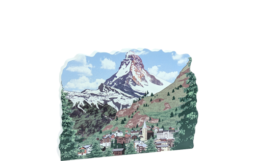 "Scene of the Matternhorn in the Swiss Alps, handcrafted by The Cat's Meow Village in 3/4"" thick wood."