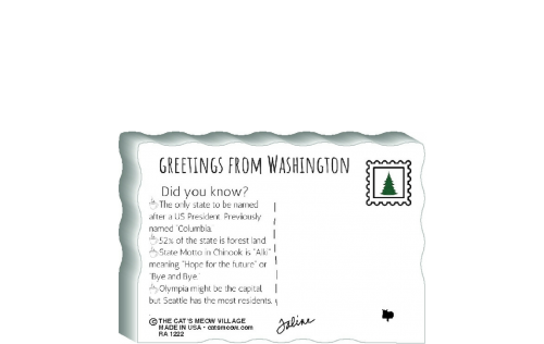"This is the back of our 3/4"" thick postcard style Washington flag. It includes a greetings and facts about Washington. Crafted by The Cat's Meow Village in the USA!"
