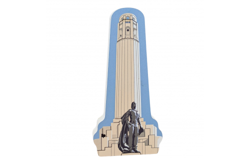 """Coit Tower in San Francisco, CA. handcrafted in 3/4"""" wood by the Cat's Meow Village in the USA."""
