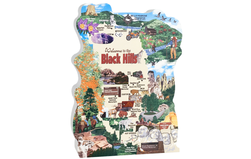 "Map of the Black Hills in western South Dakota filled with all the places to visit. Handcrafted in 3/4"" thick wood by The Cat's Meow Village in the USA."
