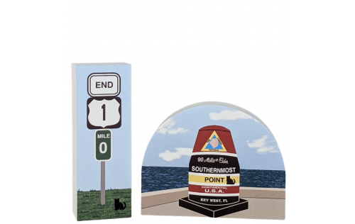 Two popular icons of Key West, Florida - The US Route 1 End Sign and the Southernmost Point Marker. Have you see them in person?