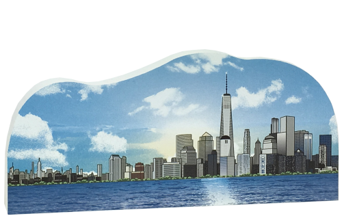 Handcrafted in the USA wooden keepsake of New York City, lower Manhatten, by The Cat's Meow Village