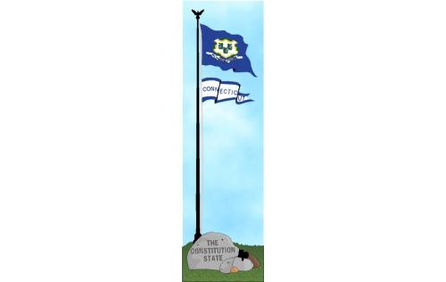 Cat's Meow keepsake of the Connecticut state flag, the Constitution State.