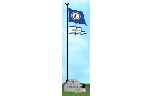 Cat's Meow shelf sitter of the Virginia state flag, the Old Dominion State.