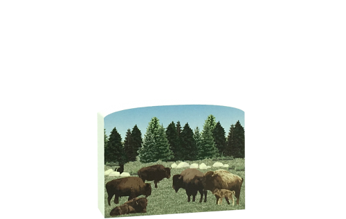 "Scene of American Bison handcrafted in 3/4"" thick wood by The Cat's Meow Village. Add it to your decor to remind you of your bison encounter!"