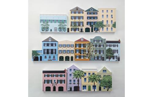 Remember your trip to Charleston, SC with your very own replicas of Rainbow Row. We handcraft them in all their colorful details in Wooster, Ohio. By The Cat's Meow Village.