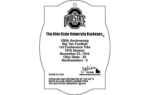 Back of wooden ornament of OSU football 1916 Season Northwestern Program cover handcrafted by The Cat's Meow Village.