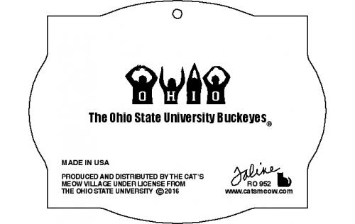 Back of O-H-I-O OSU Buckeyes personalized ornament handcrafted in wood by The Cat's Meow Village.