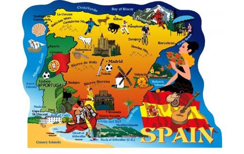 Map of Spain, Portugal, Madrid, Lisbon, Barcelona, Canary Islands, Toledo, Faro, Cape St. Vincent