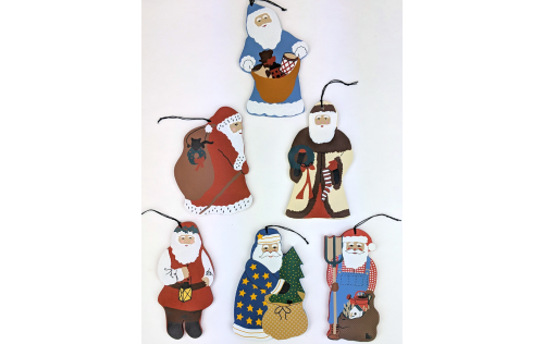 Classic collection of Santa ornaments created for A Country Tradition in the 80's and 90's.