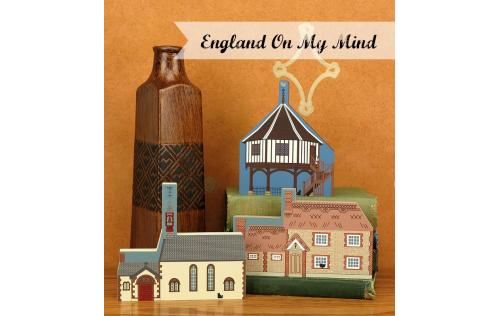 "Old Cottage, Hammerpot, England from Great Britain Series handcrafted from 3/4"" thick wood by The Cat's Meow Village in the USA"