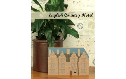 Wooden handcrafted shelf sitter of an English Country Hotel created by The Cat's Meow Village