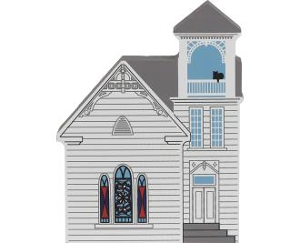 Wooden handcrafted keepsake of the Christian Church created by The Cat's Meow Village