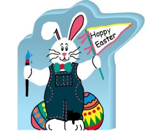"Hoppy Easter Bunny handcrafted of 3/4"" thick wood by The Cat's Meow Village with colorful details on the front."