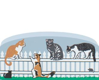 "Summer Kitty Fence by The Cat's Meow Village handcrafted in 3/4"" thick wood adds a neighborhood touch to your other Cat's Meow keepsakes"