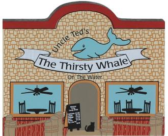 Bring the beach home with a Cat's Meow handcrafted wooden miniature of The Thirsty Whale