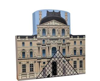 Handcrafted wooden souvenir of The Louvre created by The Cat's Meow Village