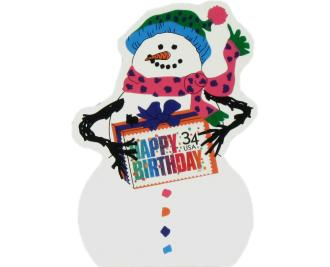 Happy Birthday Snowman, USPS Happy Birthday stamp