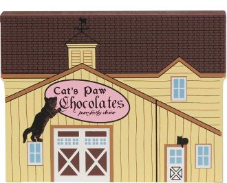 Handcrafted wooden shelf sitter of the Chocolate Barn created by The Cat's Meow Village