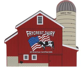 Wooden handcrafted keepsake of the Frycrest Dairy Barn created by The Cat's Meow Village