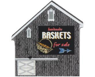 Wooden shelf sitter décor of the Basket Barn handcrafted in the U.S. by The Cat's Meow Village