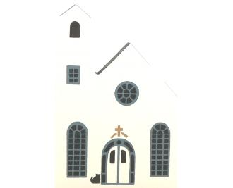"Vintage Church from Series II handcrafted from 3/4"" thick wood by The Cat's Meow Village in the USA"