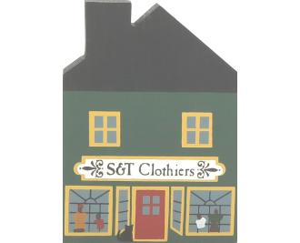 "Vintage S & T Clothiers from Series II handcrafted from 3/4"" thick wood by The Cat's Meow Village in the USA"