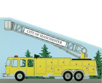 Cat's Meow Aerial Platform Fire Truck can be personalized with your town name a name of your favorite fireman or department.
