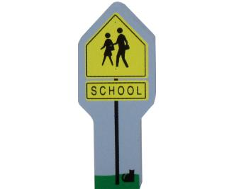 Cat's Meow Village School Crossing Sign accessory