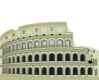 "The Colosseum, Rome, Italy handcrafted from 3/4"" wood by The Cat's Meow Village"