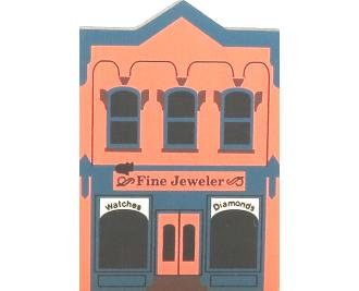 "Vintage Fine Jeweler from Series III handcrafted from 3/4"" thick wood by The Cat's Meow Village in the USA"