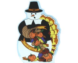 Thanksgiving Snowman with pilgrim hat, pumpkins, turkey tail