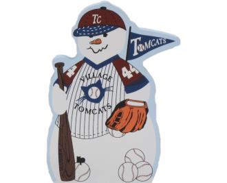 Baseball Snowman, bat, ball, baseball mitt