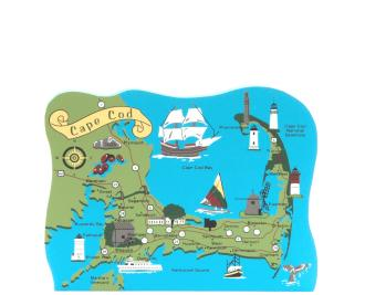 Map of Cape Cod, Massachusetts handcrafted in wood by The Cat's Meow Village.
