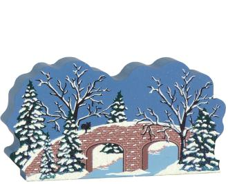 Over The River And Through The Woods bridge scene. Part of a handcrafted wooden 4 pc set to display in your home. By The Cat's Meow Village.
