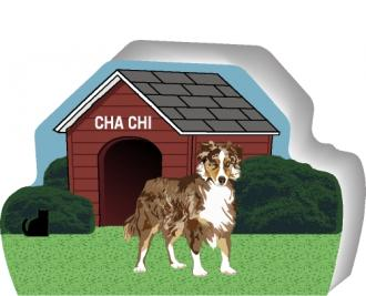 Australian Shepherd can be personalized with your dog's name on the dog house