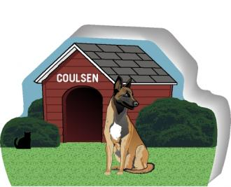 Cat's Meow shelf sitter of a Belgian Malinois you can personalize with your dog's name.