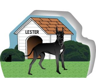 Cat's Meow shelf sitter of a Great Dane you can personalize with your dog's name.