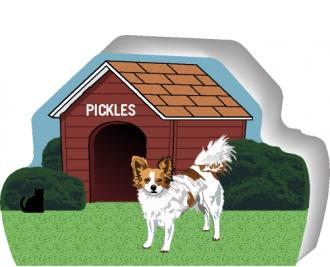 Cat's Meow shelf sitter of a Papillion you can personalize with your dog's name.