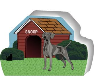 Cat's Meow Village handcrafted wooden shelf sitter of a Weimaraner you can personalize with your dog's name.
