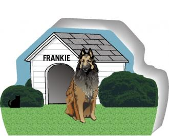 Cat's Meow Village handcrafted wooden shelf sitter of a Belgian Tervuran you can personalize with your dog's name.