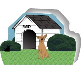 Personalize a cute little wooden dog house with your dogs name. By The Cat's Meow Village, handcrafted in the USA.